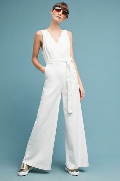 Chino by Anthropologie Scalloped Chino Jumpsuit • $138