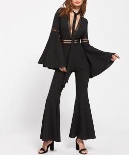 Wide Sleeve Black Jumpsuit